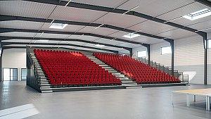 La nouvelle halle de 1 500 m² pourra accueillir 900 personnes dont 600 places sur des tribunes rétractables © Axis Ingénierie - Clarisse Meriel Architecte Hmnop